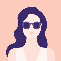 Portrait of a woman. The head of a girl. Avatar. Minimalist. Flat. Vector illustration