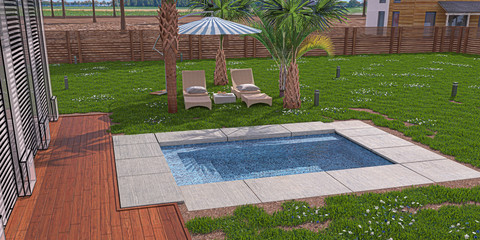 Giardino privato con piscina, idromassoggio ed ombrelloni, lounge, illustrazione 3d