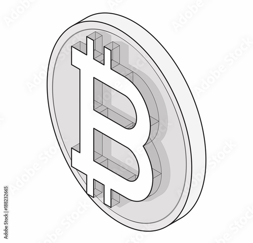 Outlined Bitcoin Coin Mark Isometric Modern Symbol Cryptocurrency