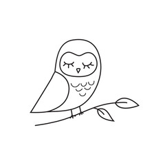 Owl outline icon and emblem