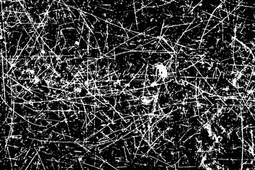 Grunge texture of white scratch on black background (Vector). Use for decoration, aging or old layer
