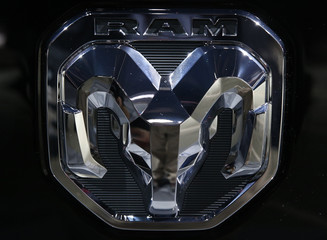 Detail view of the Ram logo as displayed at the North American International Auto Show in Detroit