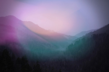 Colorful Sunlight Blurs of Pink and Green Landscape Photo of Smokey Mountains