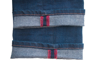 Denim texture with red seam