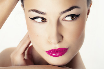 woman face with beauty makeup