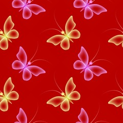 Glowing red background with magic  butterflies and Transparent butterfly in color pink and yellow.