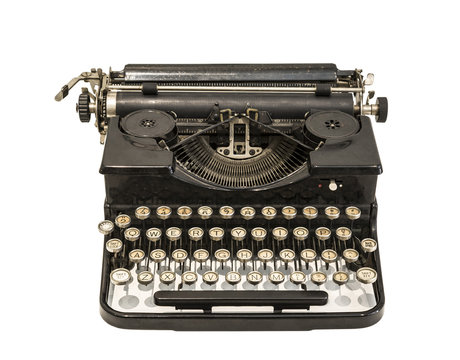 Vintage typewriter on white background isolated