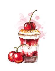 Коктейль с вишнями на белом фоне, акварель.