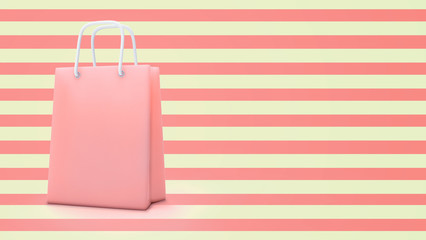 3d render of paper shopping bag with pastel color and copy space background