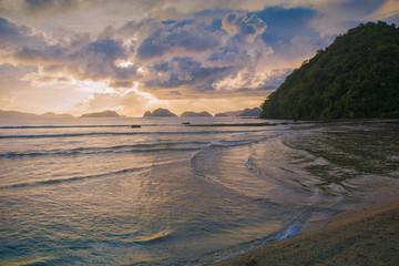 Beautiful sunset in El Nido, Palawan island, Philippines