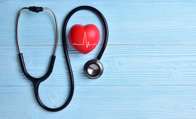 Red heart with stethoscope.