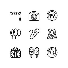 Birthday, event, celebration vector simple icons for web and mobile design pack 4