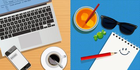 vacances - travail - choix - congé - détente - stress - bureau - choisir - bonheur - concept - entreprise