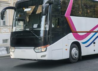 tourist bus on a city street