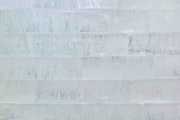 Close up view of Ice brick wall, background.