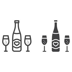 Bottle of champagne with glasses line and glyph icon, valentines day and romantic, alcohol sign vector graphics, a linear pattern on a white background, eps 10.