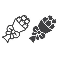 Bouquet of flowers line and glyph icon, valentines day and romantic, floral sign vector graphics, a linear pattern on a white background, eps 10.