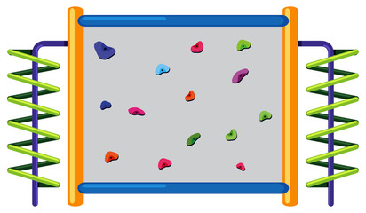 Rock climbing wall on white background