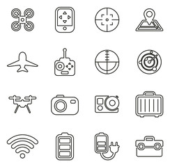 Drone Or Quadcopter Icons Thin Line Vector Illustration Set