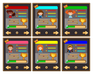 Card game template with characters and buttons