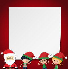 Border template with kids and Santa