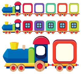 Wooden train in different colors