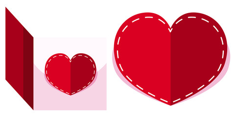 Card template in heart shape