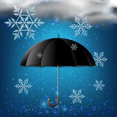 Black umbrella and snow in the sky