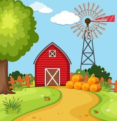 Keuken foto achterwand Lime groen Red barn and wind turbine on the farm