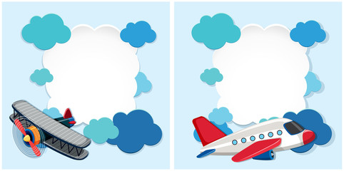 Border templates with airplanes and blue clouds