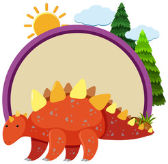 Stegosaurus and round border