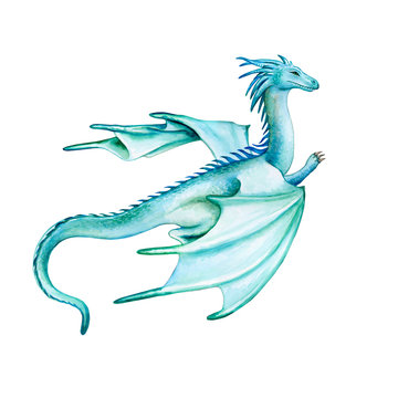 Green dragon with wings isolated on white background. Watercolor. Illustration. Template. Sketch. Handmade Clip art.