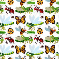 Seamless background with different types of insects