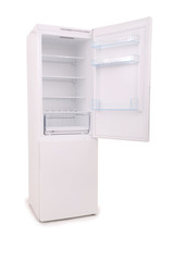 isolated opened empty refrigerator (Clipping path)
