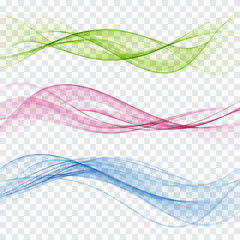 Set of abstract color wave. Color smoke wave. Transparent color wave. Blue, pink,red color.