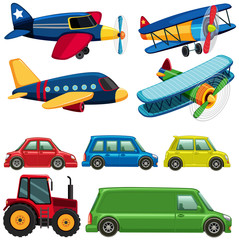 Different types of vehicles on white background