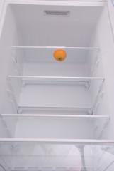 One mandarin in open empty refrigerator.