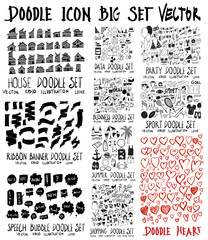 MEGA set of doodles vector. Collection of Home, ribbon, speech, data, business, summer travel, shopping, party, sport, heart eps10