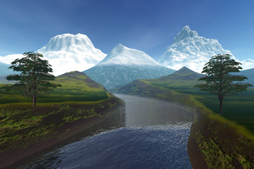 River, an alpine landscape, snow on the peaks of mountains and a cloudy sky.