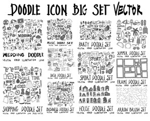 MEGA set of doodles vector. Collection of Wedding, Music, Party, Summer, Shopping, Data, Sport, Frame, Business, House, Arrow eps10