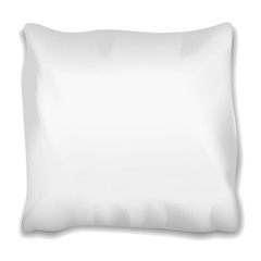 Square pillow with shadow on white background for good, healthy sleep