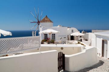 Windmill of Oia village on Santorini island, Greece