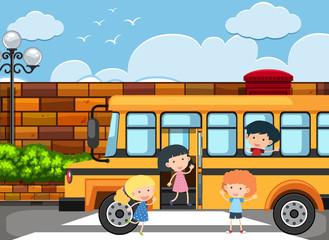Children getting off the school bus