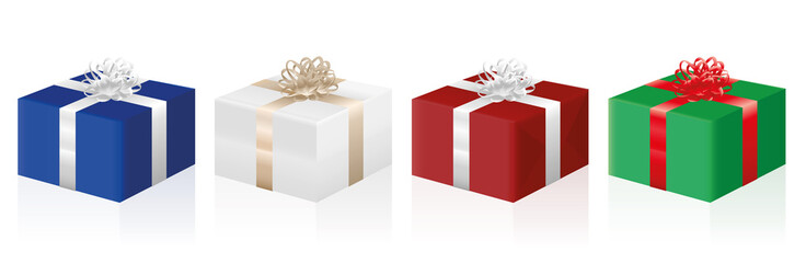 Gift packages - four presents in different colors - isolated vector illustration on white background.