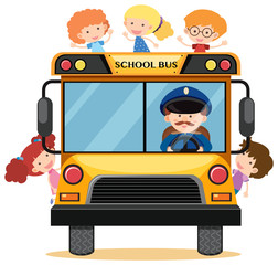 Many children riding school bus