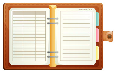 Organizer with brown leather covers
