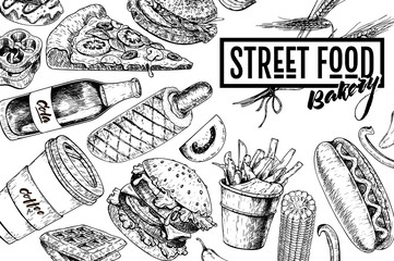 Hand drawn fast food banner. Street food bakery. Burger, hot dog, french fries, pizza, coffee, soda, bagel, donut, waffels. engraved vector illustration. restaurant, menu, street food flyer, poster