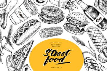 Hand drawn fast food banner. Street food bakery. Burger, hot dog, french fries, pizza, coffee, soda, bagel, donut, waffels engraved vector illustration. restaurant, menu, street food, flyer, poster