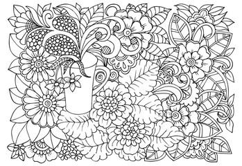 Black and white flower pattern for adult coloring book. Doodle floral drawing. Art therapy coloring page.