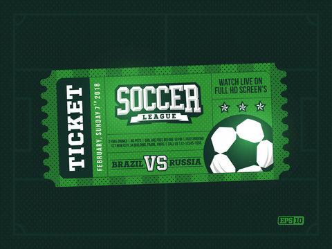 one modern professional design of football tickets in green theme
